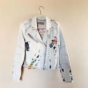Blank NYC Embroidered Floral Denim Jacket Med